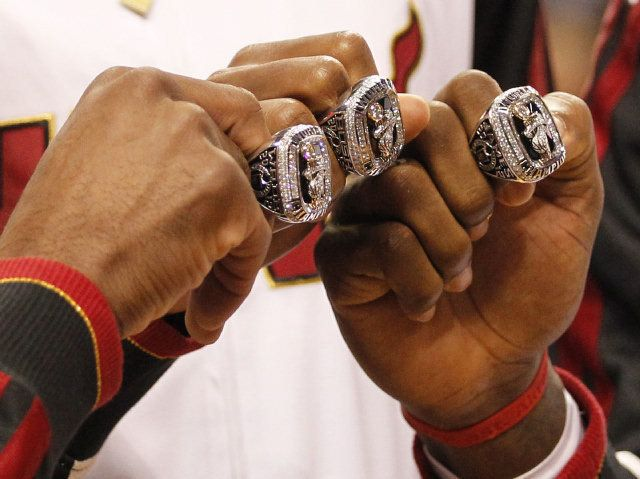 Dwayne Wade, Chris Bosh and LeBron James of the Miami Heat open up the season receiving their rings for winning last year's championship (2012)