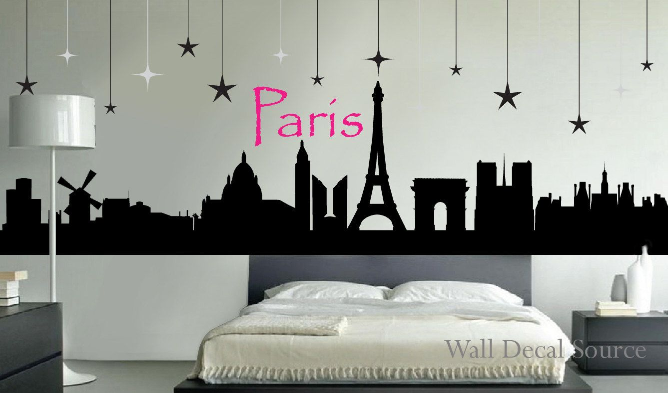 Paris Skyline Silhouette Wall Decal By Walldecalsource On Etsy