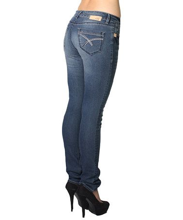 Loving this Medium Wash Kristine Stretch Straight-Leg Jeans - Plus Too on #zulily! #zulilyfinds