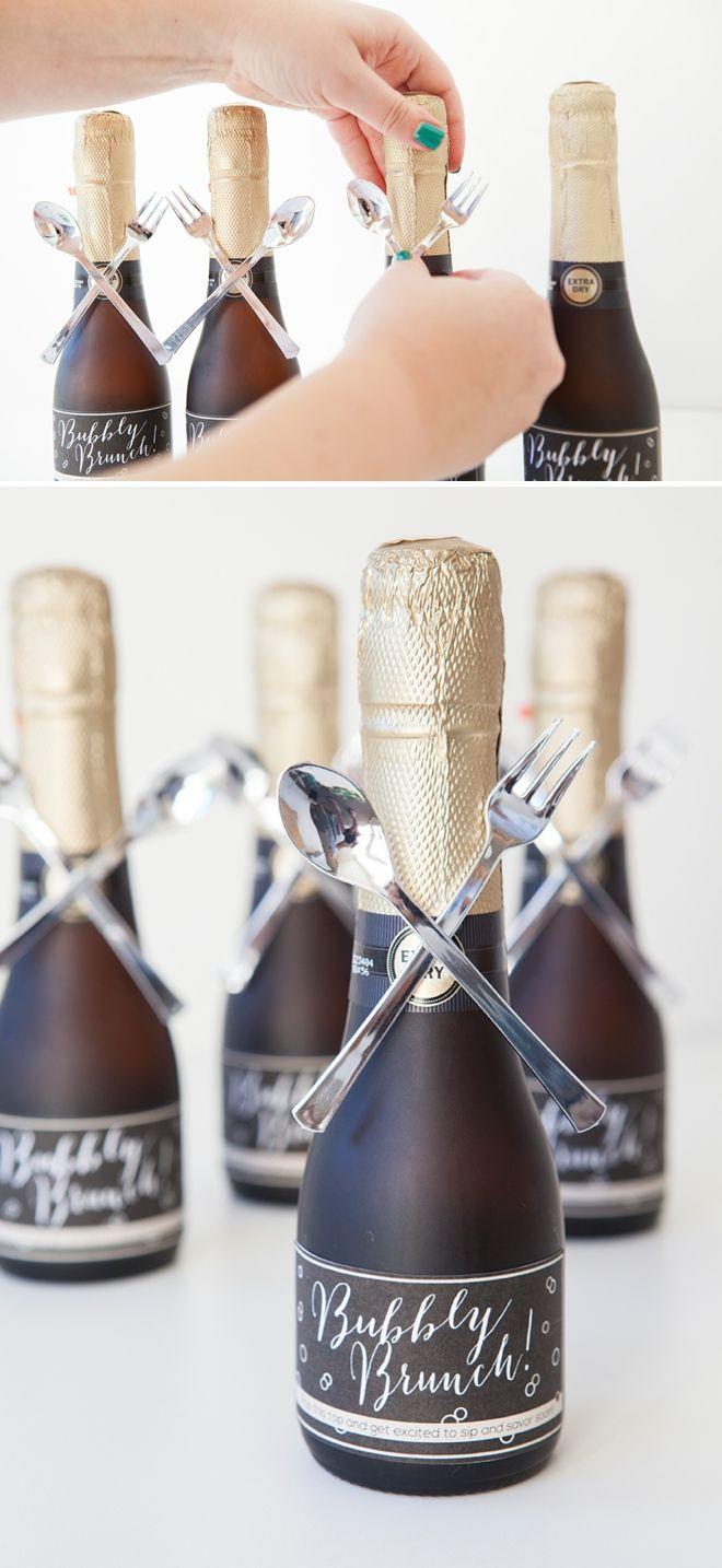 Make these darling mini-champagne brunch invitations! | Mini ...