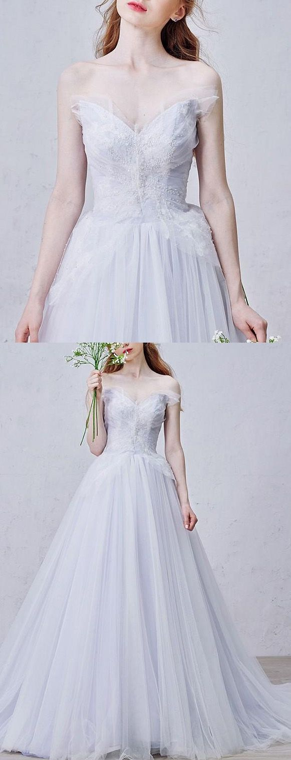 Discount long prom evening dress easy white prom dresses with tulle