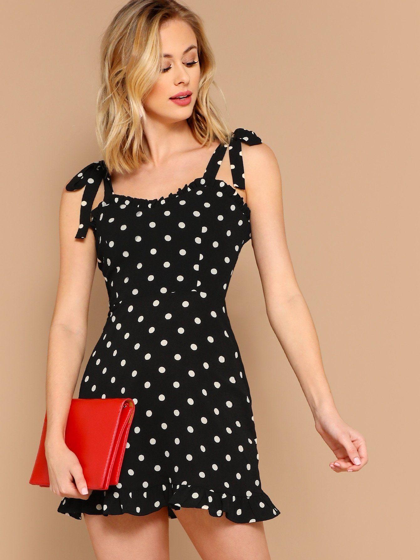98373e1261953 Ruffle Trim Tie Straps Polka Dot Sleeveless Dress in 2019   Products ...