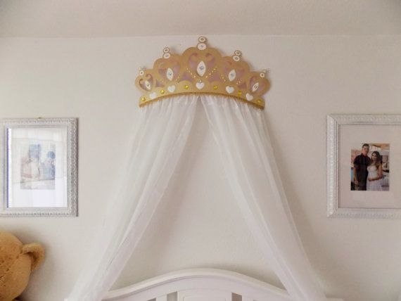 3D Gold Princess Crown Canopy with Sheer Panels by WakeUpSweetPea & Crib Crown Canopy Wall Decor Gold with Sheer Panels | Canopy ...