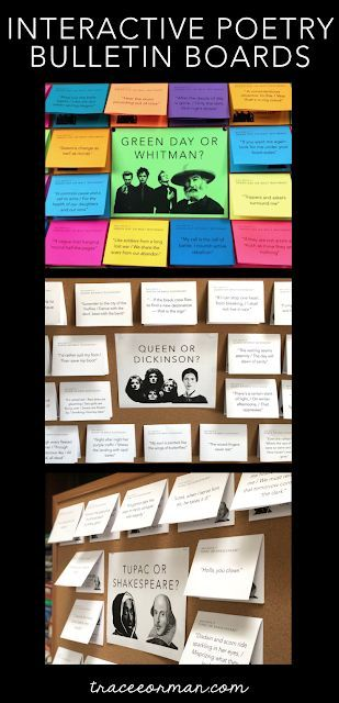 Fun Poetry Bulletin Board Ideas is part of Reading bulletin boards middle school, High school bulletin boards, Middle school bulletin boards, High school language arts, English teacher high school, Language arts bulletin boards - Poetry is cool when you use these interactive bulletin boards in your classroom  Your students will love guessing which lines are from the musician and which are from the poet