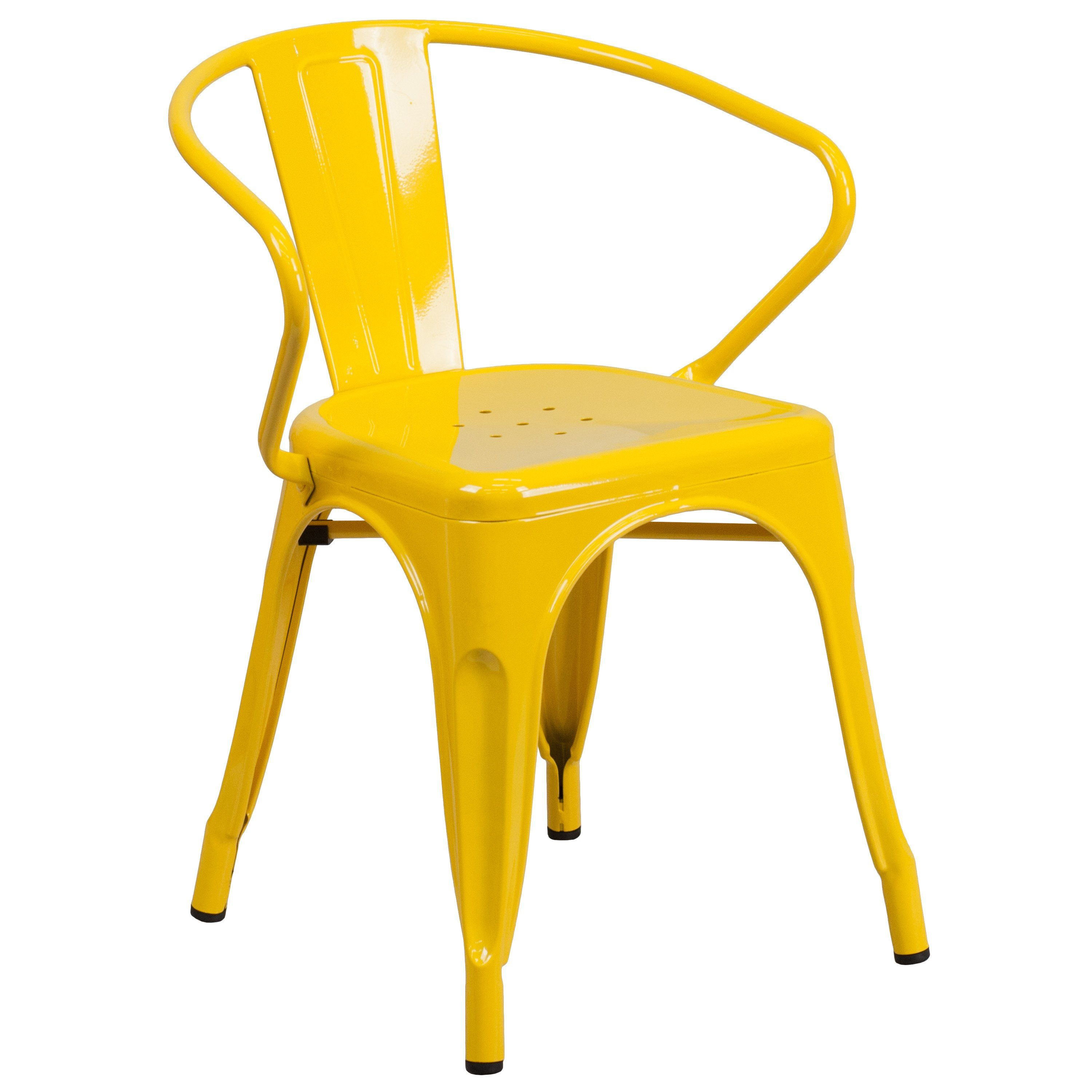 Yellow Metal Indoor Outdoor Chair With Arms Metal Chairs