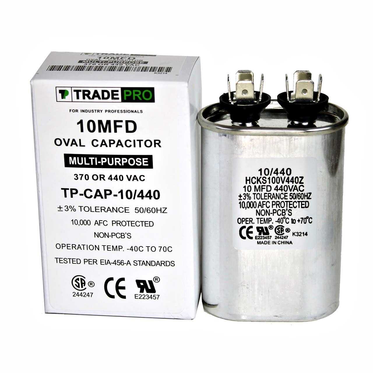 10 MFD 370 or 440 VAC Oval Run Capacitor TPCAP10/440