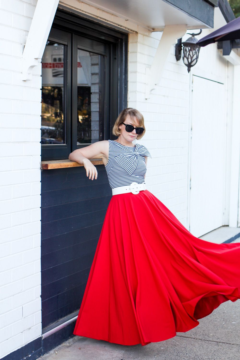 findingfemme wears Mokkafiveoclock red full circle maxi skirt. I ...