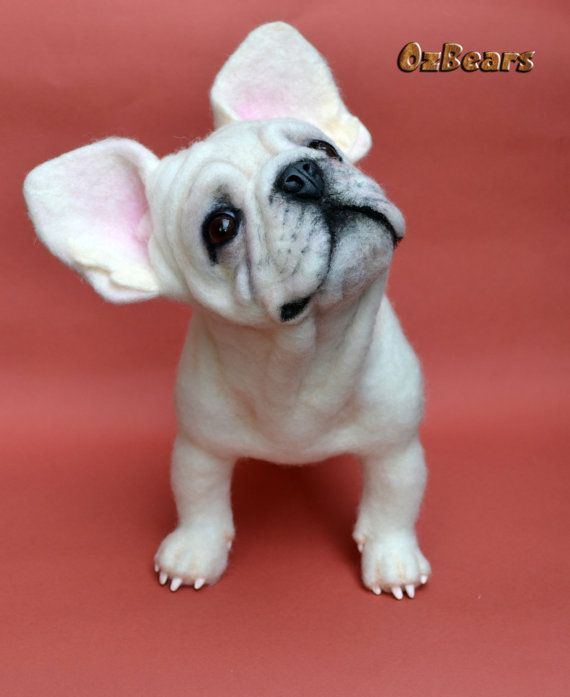 One Of A Kind Needle Felted French Bulldog By Ozbears Needle