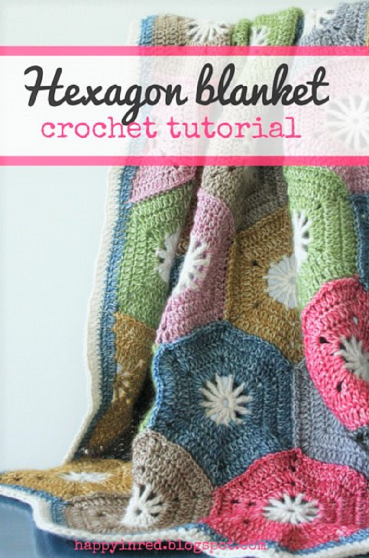 Crochet hexagon blanket: a step by step tutorial | Muster und Häkeln