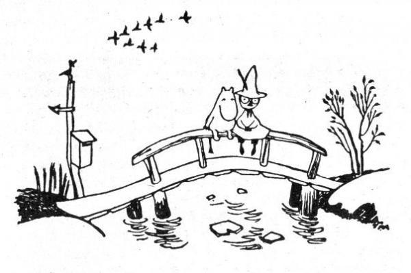 Можно лежать на мосту и смотреть, как течет вода. Или бегать, или бродить по болоту в красных сапожках, или же свернуться клубочком и слушать, как дождь стучит по крыше. Быть счастливой очень легко. Туве Янссон «Все о муми-троллях»