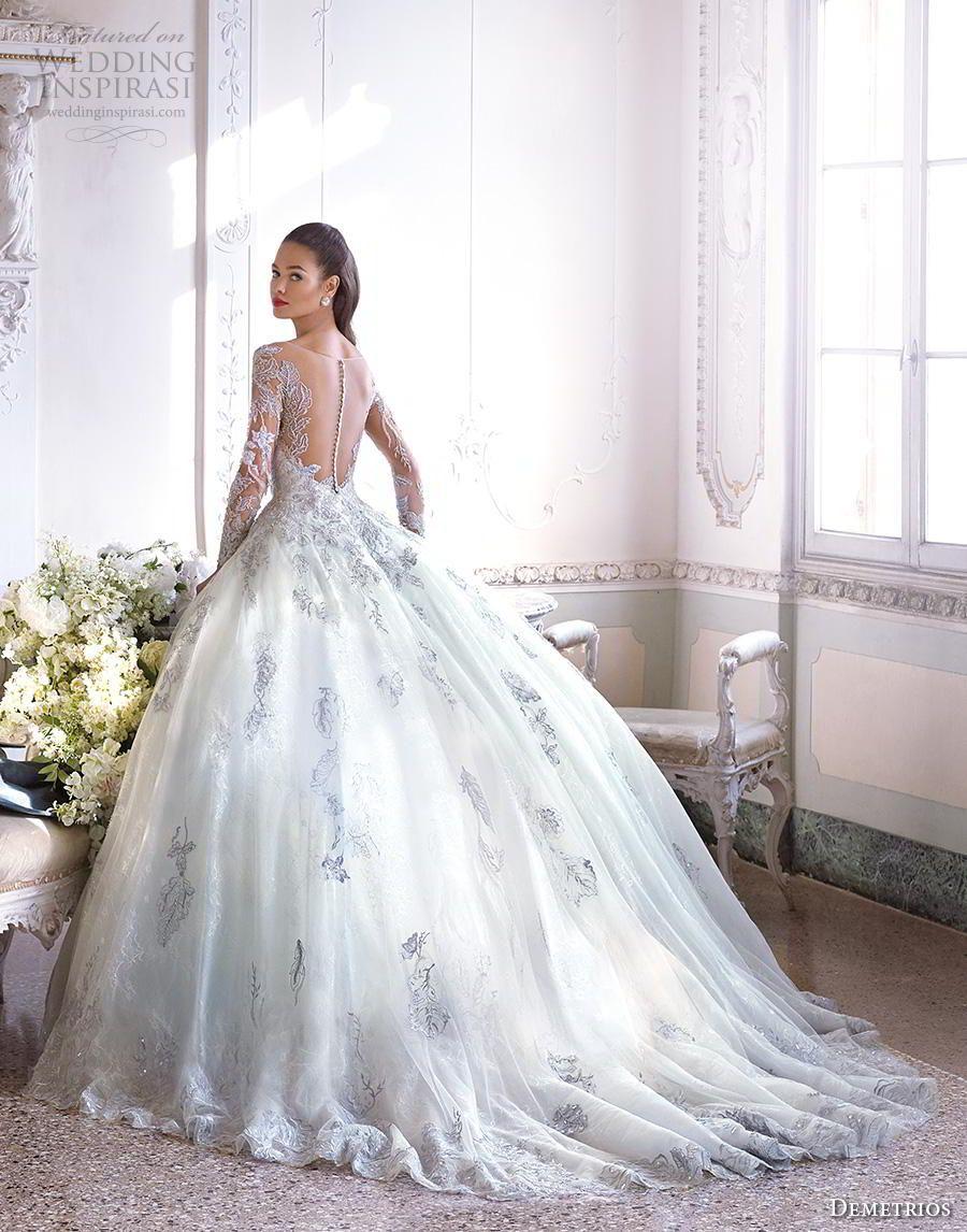 bc632896973 demetrios 2019 bridal long sleeves sweetheart neckline full embellishment  romantic princess blue ball gown a line wedding dress sheer button back  chapel ...