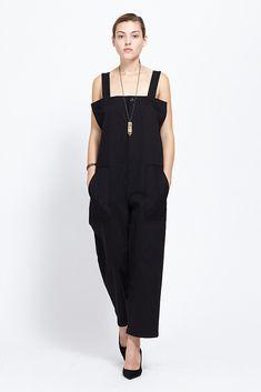 Y's by Yohji Yamamoto High Waist Suspender Pant (Black)