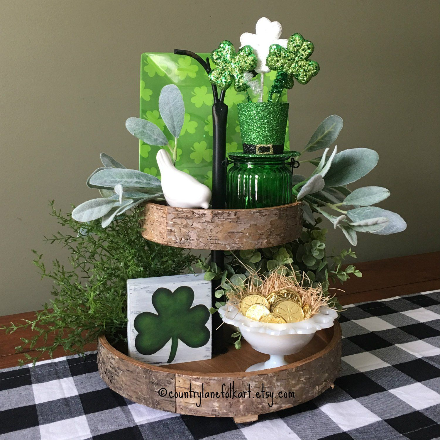 Shamrock Block Tiered Tray Decor, St. Patricks Day Decor