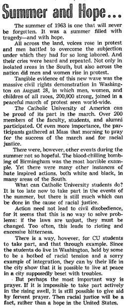 Catholic University of America's Student Newspaper (the Tower) covers the MOW in 1963: