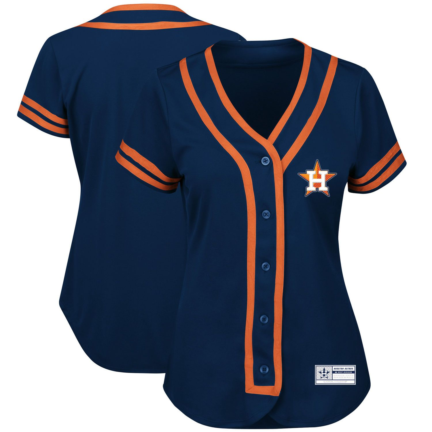ff909fa35 Houston Astros Majestic Women s Absolute Victory Fashion Team Jersey -  Navy Orange