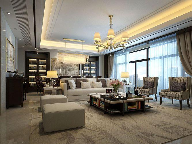 Family Living Room Restaurant Design 3d Model Max 1 Contemporary