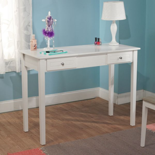 Organize and beautify a room with this wooden vanity desk by Simple