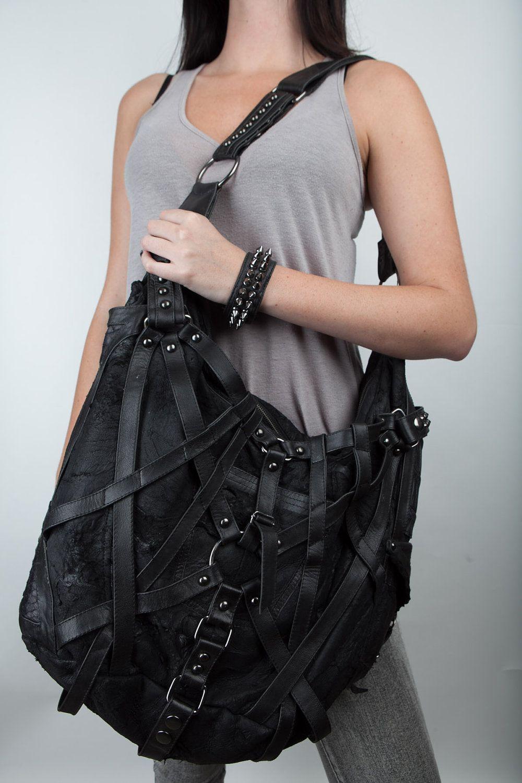 61ac6958f553 RAGE CAGE Black Leather Large Hobo Bag