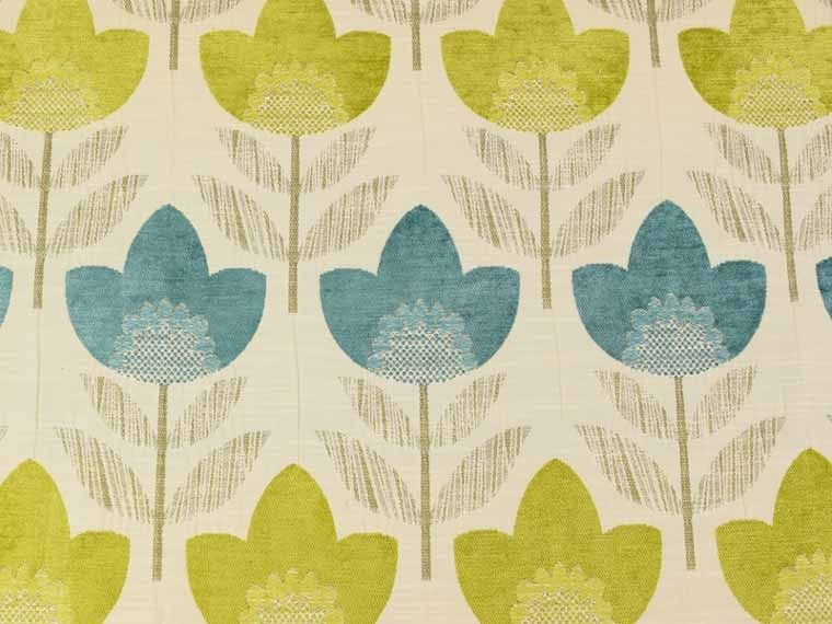 Teal Lime Oslo Chenille Curtain Fabric #fabric #curtains | Floral ...