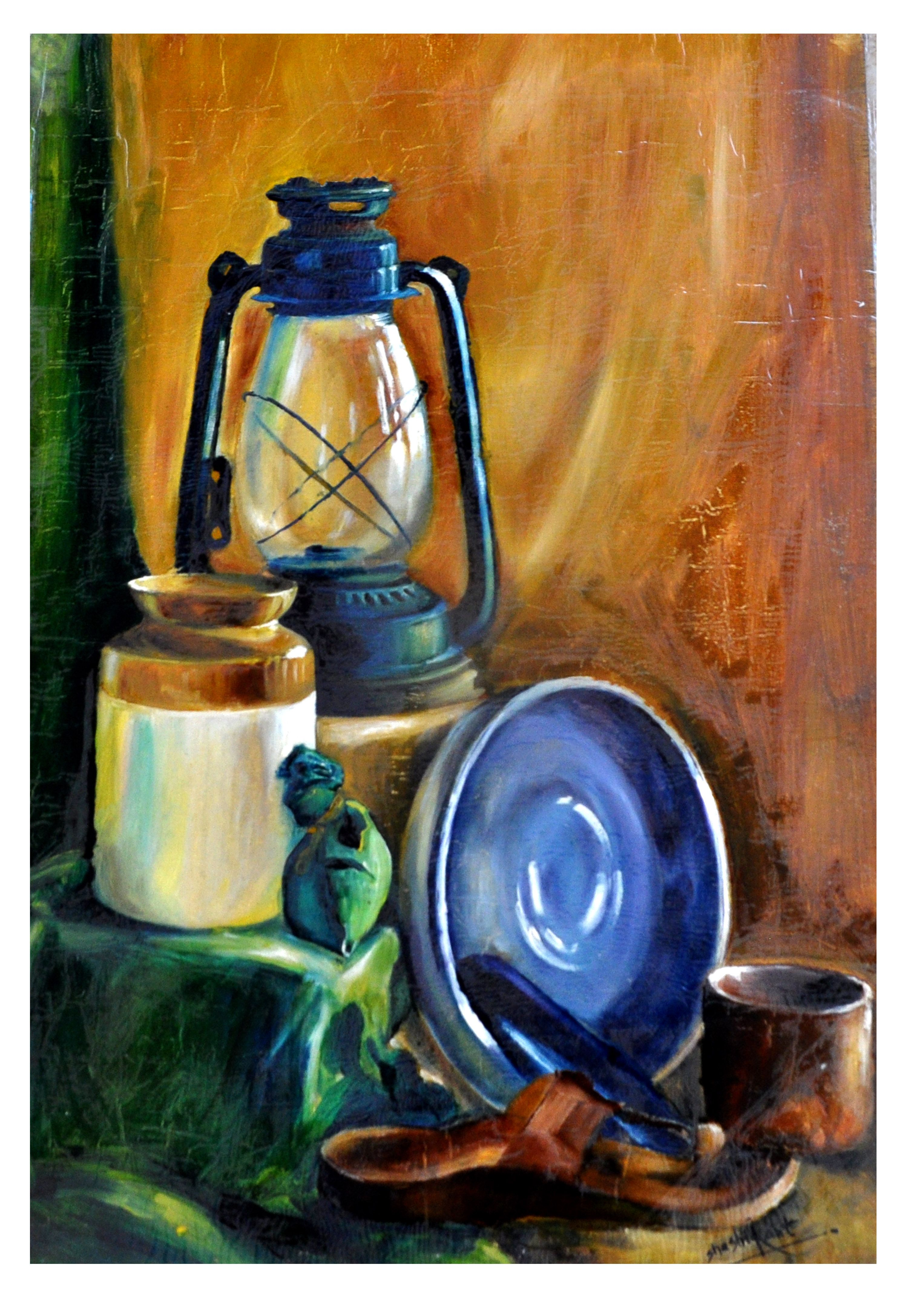 Canvas Wall Art Oil Painting Original Kitchen Wall Decor Rustic latern painting Still Life Painting Original Artwork