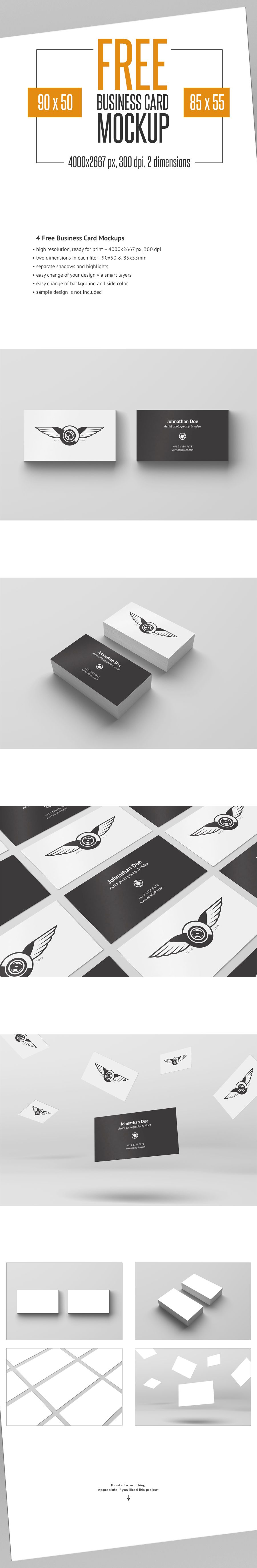 4 Free Business Card Mockup on Behance … | Pinteres…
