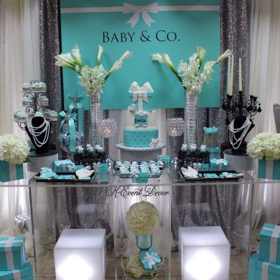 Tiffany Themed Baby Shower Main Table Decoration Ideas Baby And Co