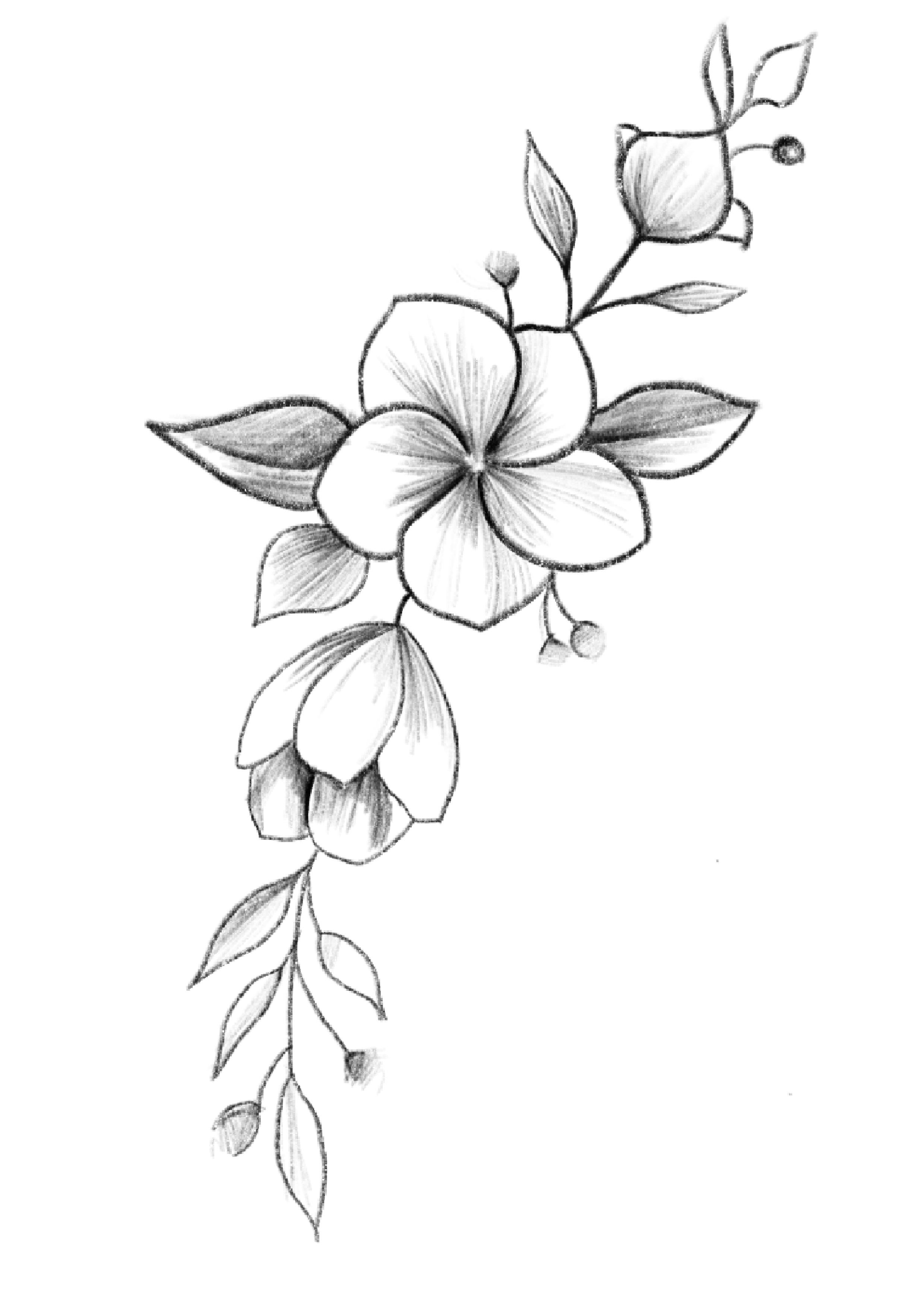 Pin By Jesseiejean On Tattoodesign Pencil Drawings Of Flowers Flower Art Drawing Flower Drawing