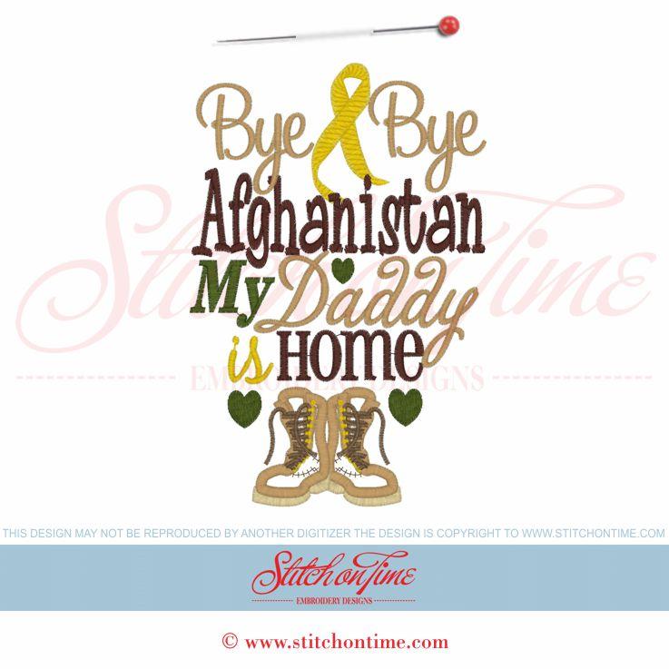 5972 Sayings : Bye Bye Afghanistan Applique 5x7