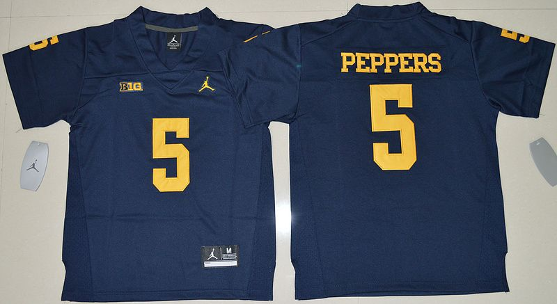 newest collection efbe4 f9174 Youth NCAA Michigan Wolverines #5 Jabrill Peppers Navy Blue ...