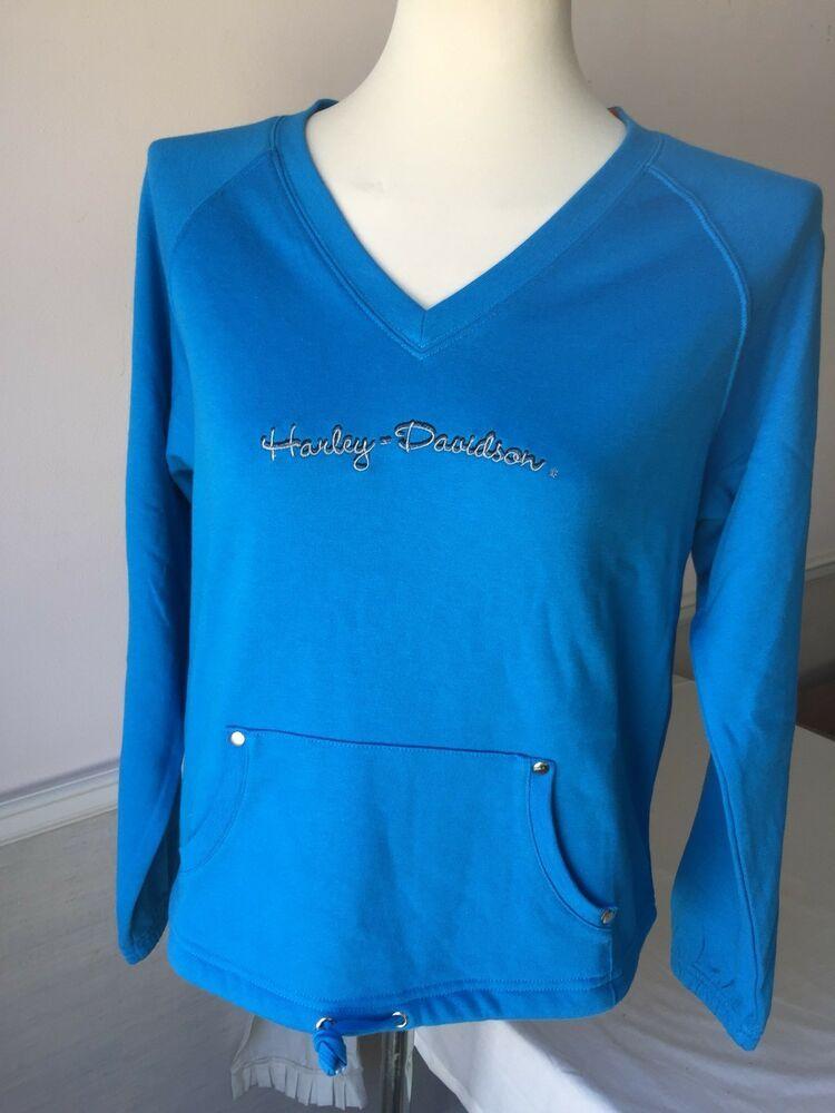 Harley-Davidson Women/'s Blue Thunder Light weight v-neck sweatshirt Small