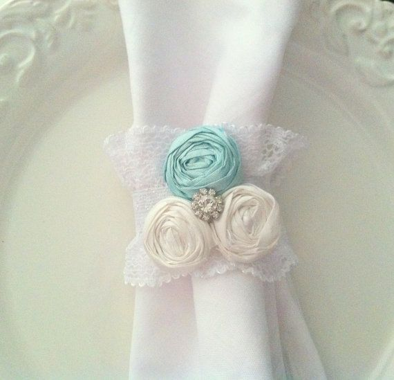 Napkin Rings Turquoise Tiffany Blue Decor Sale Picnic French Country Wedding Tea Party Cottage Chic Ruffle Lace Holder Set Of 6 Via Oh My Goodness