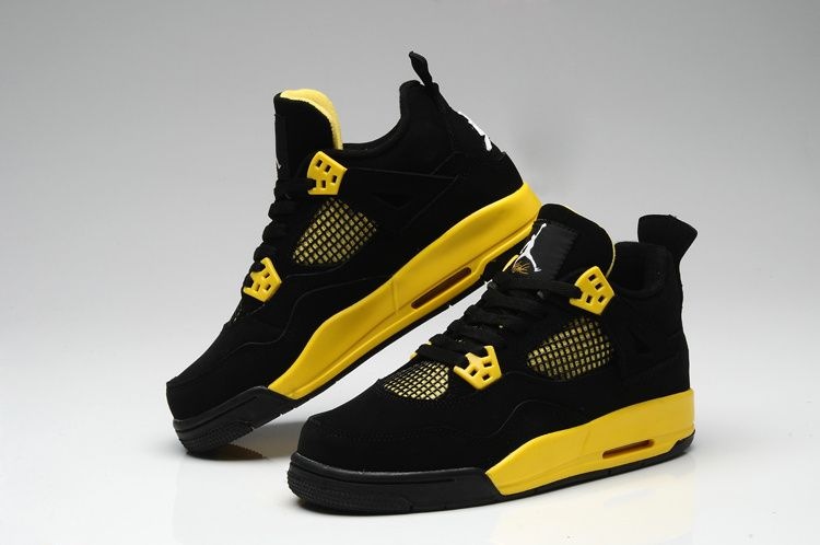 official photos 08f39 01bf3 yellow Black Women   Thor Air Jordan 4 Black Yellow For Women