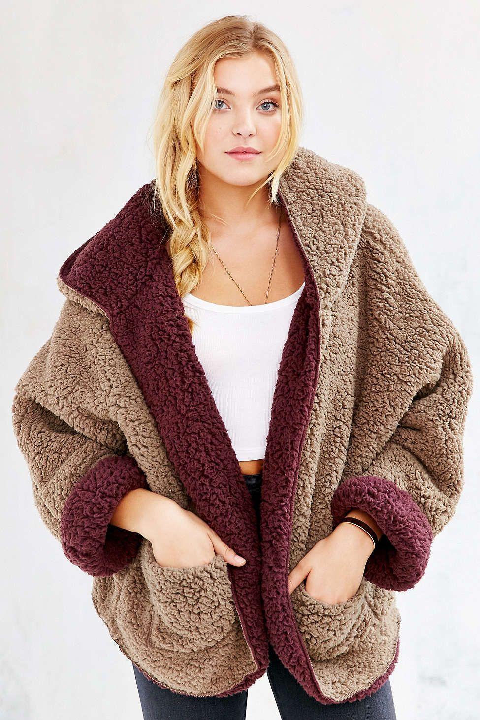 Ecote Fuzzy Reversible Jacket Urban Outfitters Faux Fur Hoodie Fur Hood Coat Fleece Jacket Womens [ 1463 x 975 Pixel ]