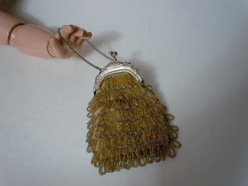 Gorgeous Original Old Amber Gold beaded Purse for antique doll decor from believe on Ruby Lane