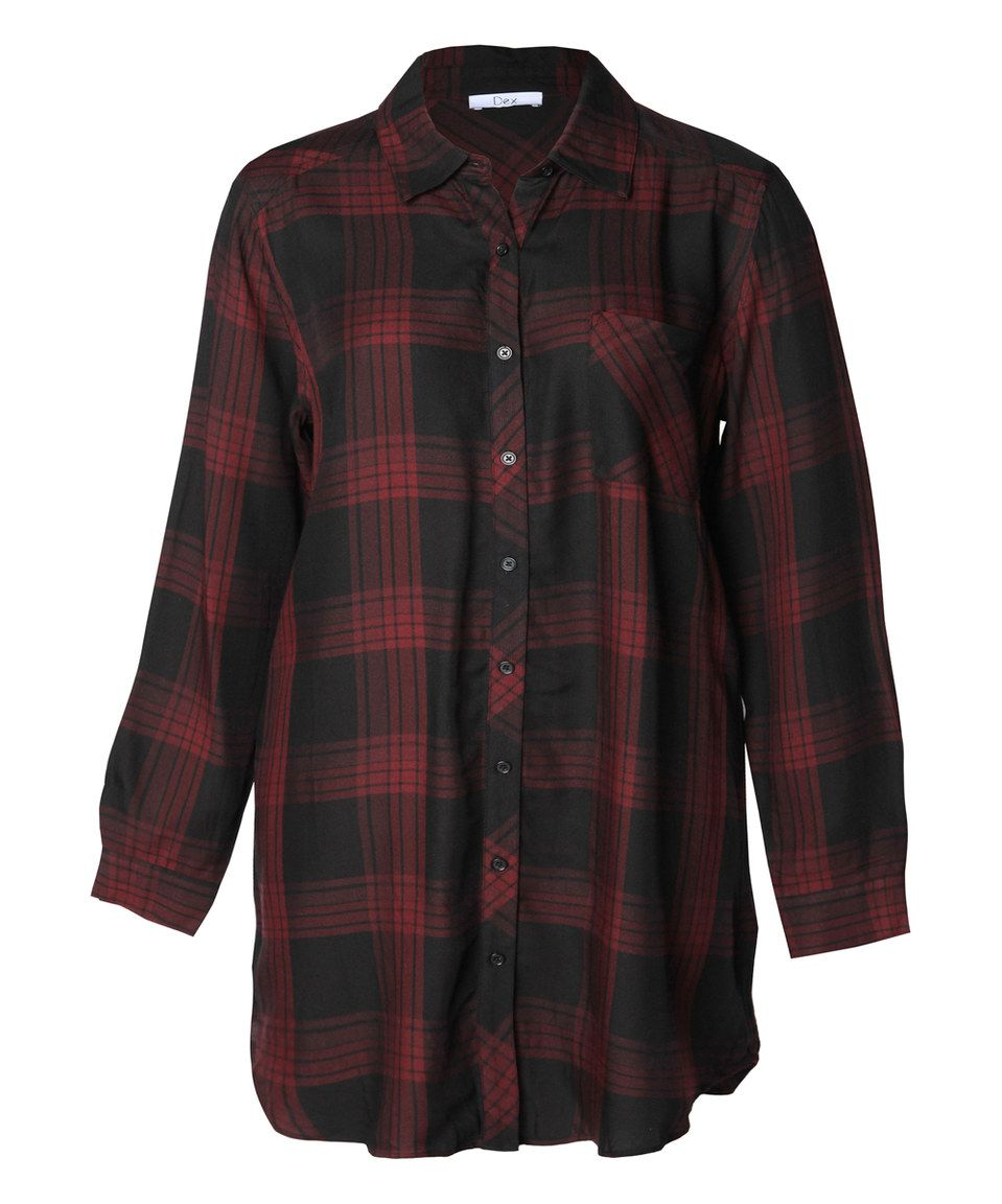 445e0d9b587 Love this Devoted by Dex Burgundy Plaid Button-Up Top - Plus by Devoted by  Dex on  zulily!  zulilyfinds