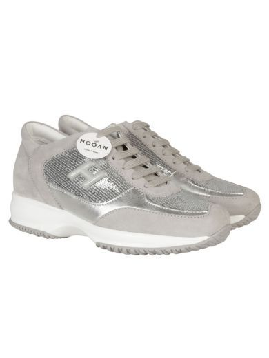 HOGAN Interactive Sneaker With Silver H, Silver Paillettes Body, Back And Front Grey Suede. #hogan #shoes #interactive-sneaker-silver-h-silver-paillettes-bod