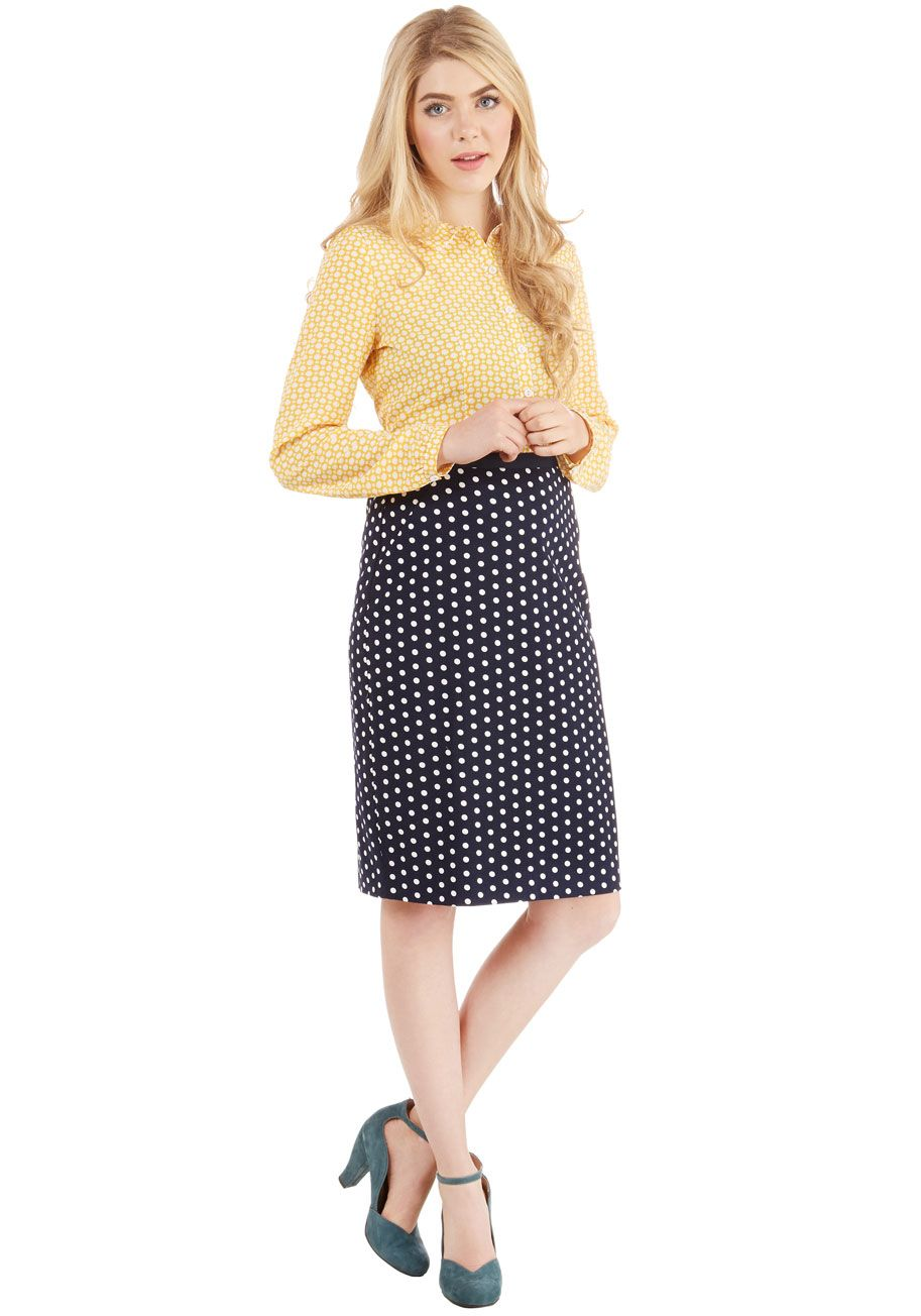 69c3762de Connoisseur of the Moment Skirt in Navy. After visiting a local winery on a  whim, you put your sophisticated smarts to the test in this white-dotted  pencil ...