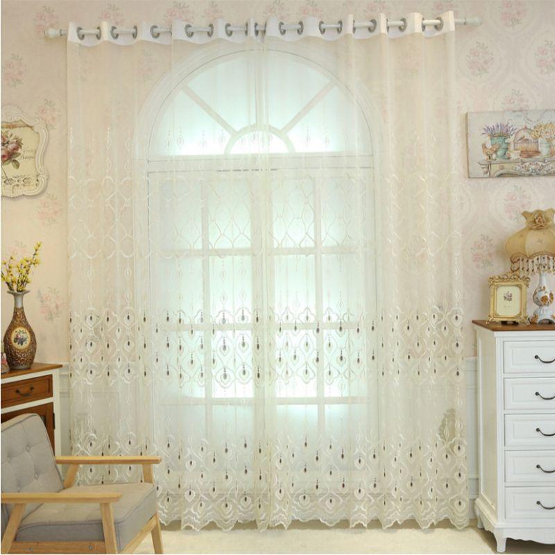 Goedkope geometrische geborduurde voile gordijnen voor moderne woonkamer slaapkamer europese - Gordijnen voor moderne woonkamer ...
