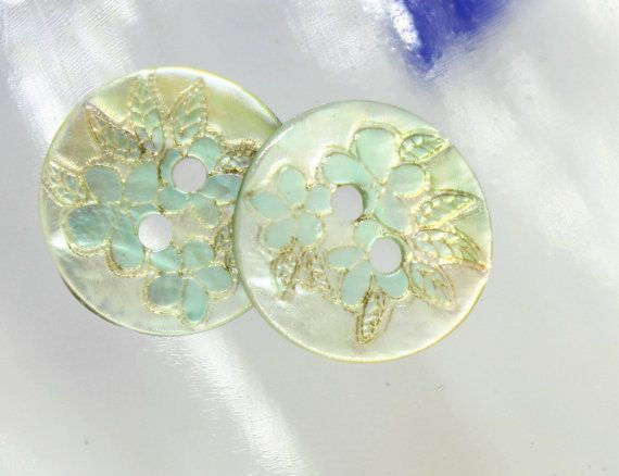 Shell Buttons - Rich Luster Light Blue Flower Shell Buttons, 0.59 inch, 10 Pcs on Etsy, $5.50