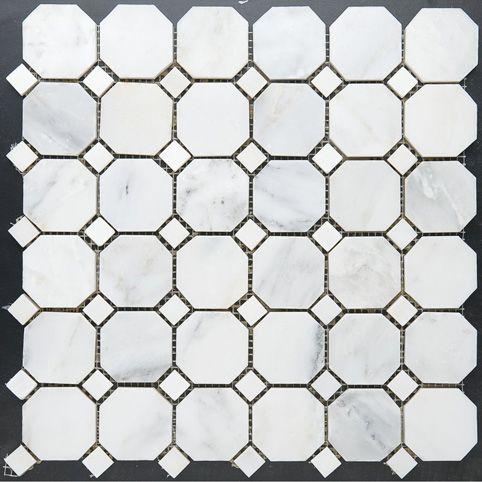 Calacatta Octagon Mosaic with Diamond Dot