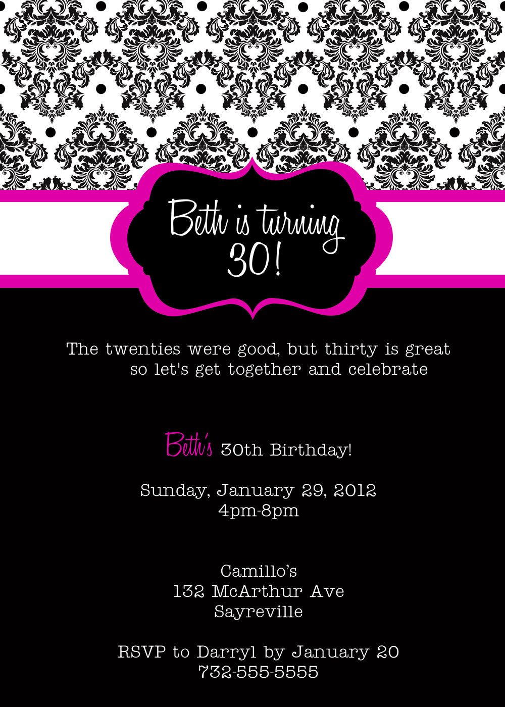 30th Birthday Invitations Printable | 30 is Coming | Pinterest ...