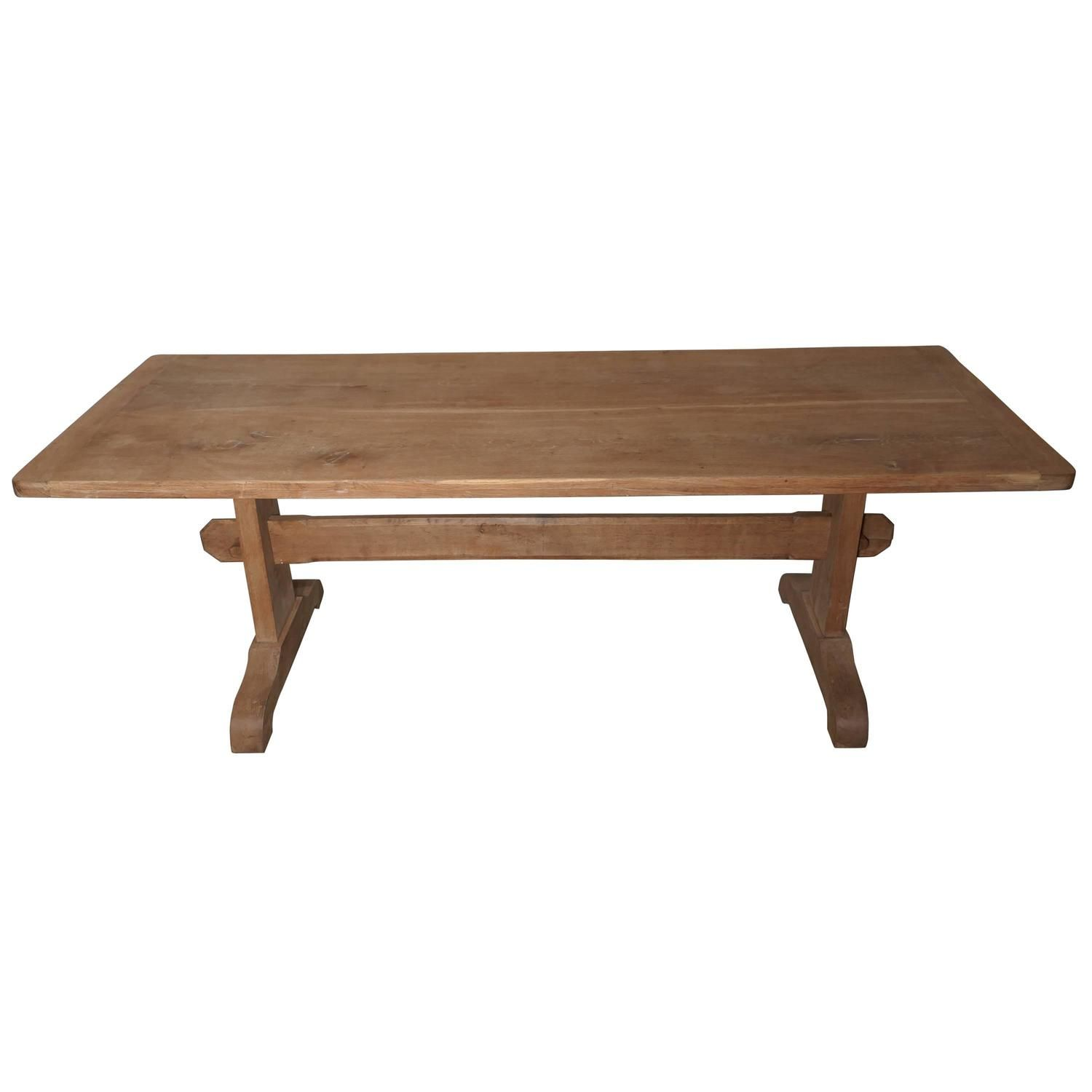 19th Century Arts and Crafts Bleached Oak Refectory Table