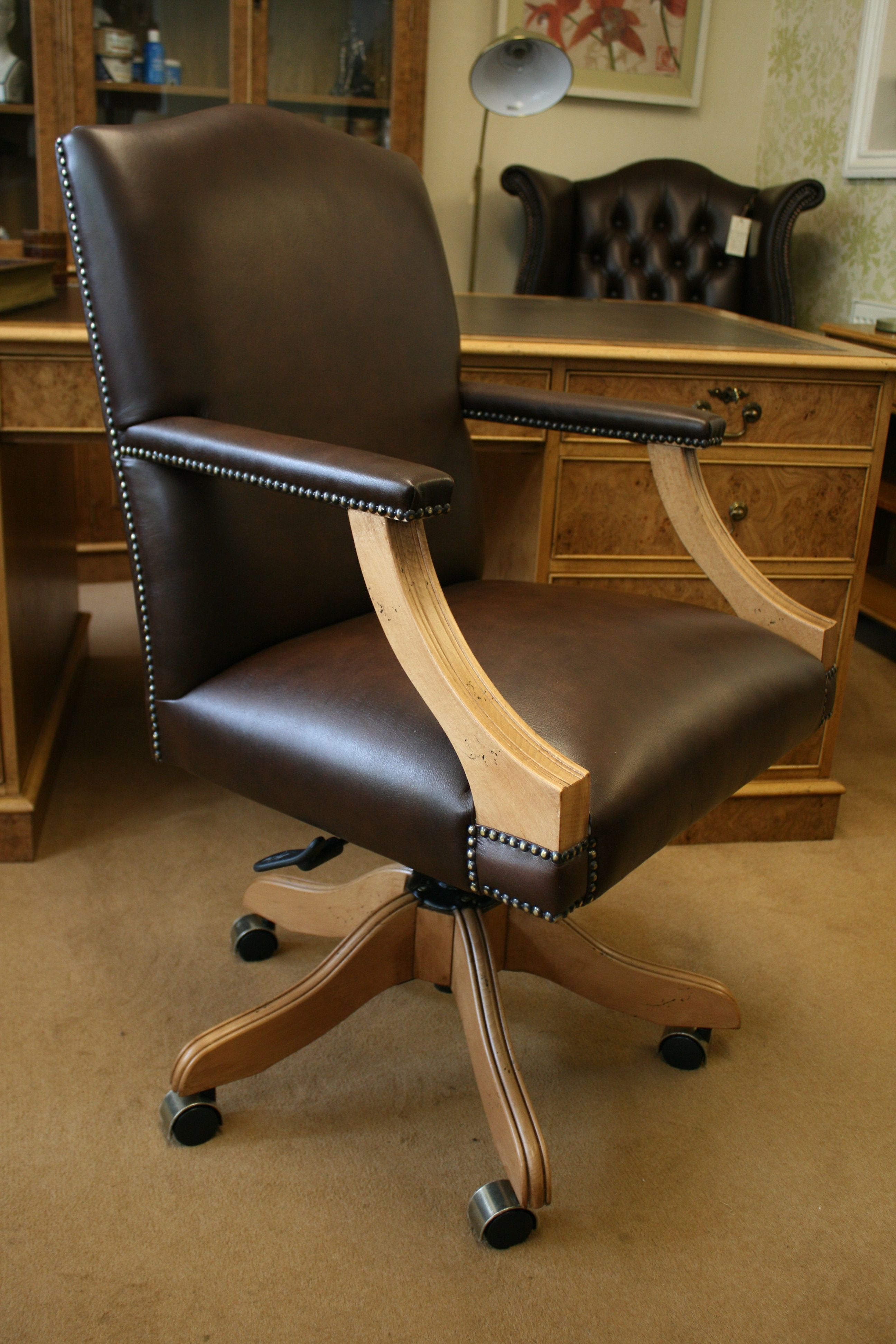 A Gainsborough Swivel Desk Chair Plain Brown Leather Upholstery