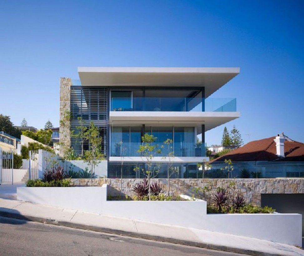 Astonishing Modern House Plants. Astonishing White House Design Idea With Glass Wall  Black Trellis Stone Accent Green