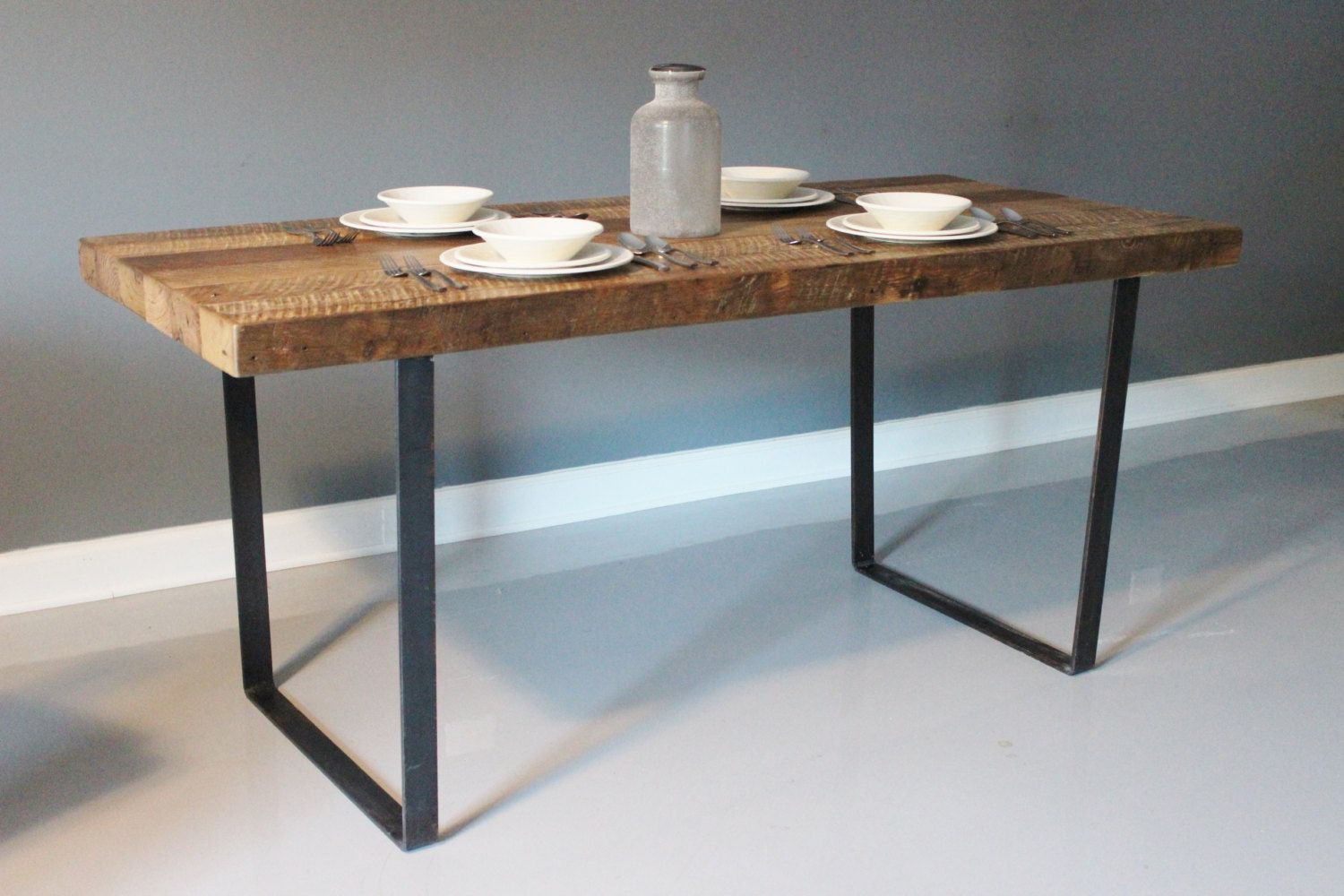 Wood Plank Dining Table with Industrial Steel Legs от DendroCo ...