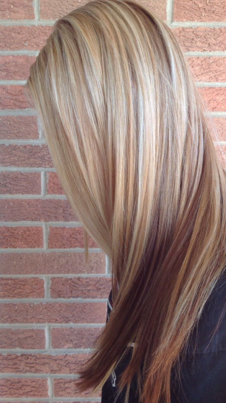 Blonde with red lowlights | Hair ideas | Hair Color ...