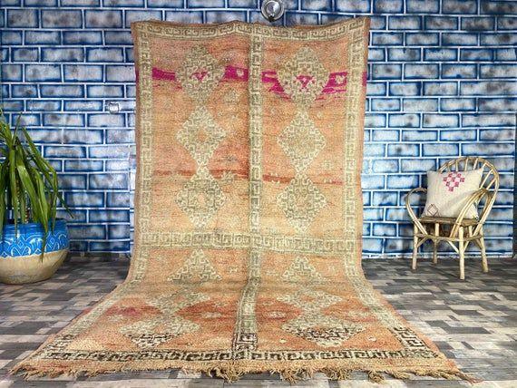 Morocco Vintage Rug Home living Home decor Antique rug Boujad Area carpet 6X11 3 FT