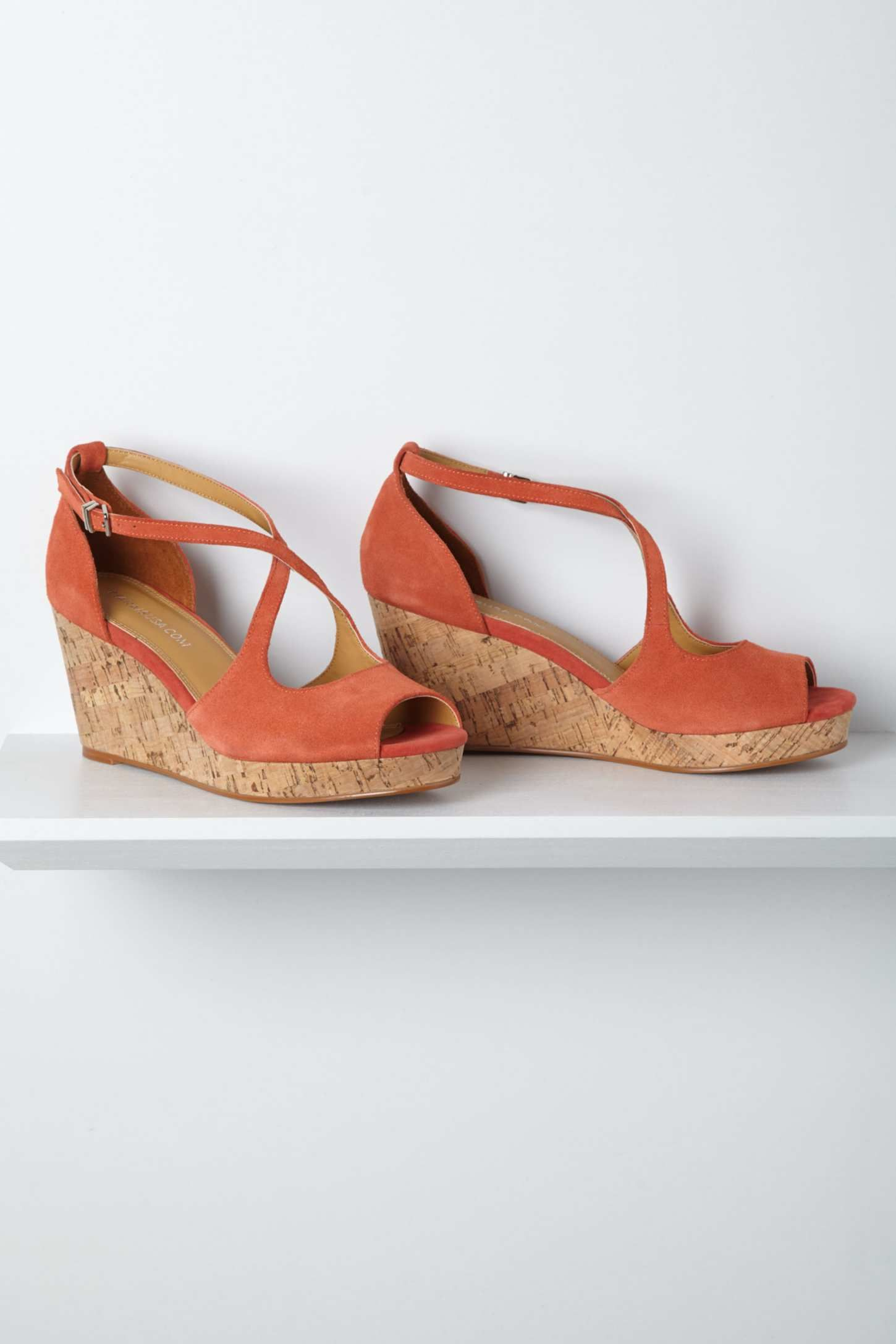 Crisscrossed Cork Wedges, Coral