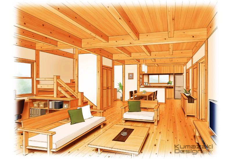 K35 建築パース 手書きパース インナー 住宅内観 手描き 建築パース