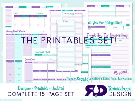Designer Printable Undated Complete Set Lists by Rainiedazze